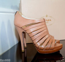 NEW Prada Strappy Cage High-Heel Stiletto Sandals in blush brown leather UK 5.5