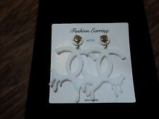 White Dripping C's Fashion Dangle Earrings W/ Safety Backs, HOT, DIVA, TRENDY