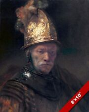 MAN WITH THE GOLDEN GOLD HELMET PAINTING BY REMBRANDT ART REAL CANVAS PRINT