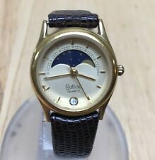 Vintage Sutton Lady Swiss Movt Moon Phase Analog Quartz Watch Hour~Date~New Batt