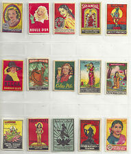 15 Match box Labels  featuring women, most Asian