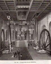 IMAGE 1890 ENGRAVING PARIS QUAI AUSTERLITZ POMPE A FEU INDUSTRIE INDSTRY