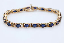 "$10,00 15ct Blue Sapphire Diamond 18k Gold Over 7.5"" Tennis Bracelet X'mas GIFT"