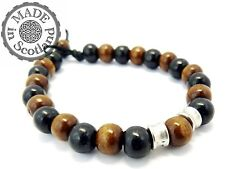 WOOD & TIBETAN SILVER SURFER MALA YOGA PRAYER STYLE BEADED BRACELET WRIST CUFF