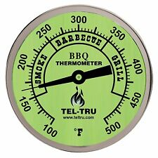 "Tel-Tru BQ300 Glow in the Dark BBQ Grill & Smoker Thermometer 3"" Dial, 2.5"" Stem"
