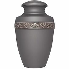Grey, Slate, Silver Flowers - Brass Funeral Cremation Urn,  Adult, 200 cub. in.