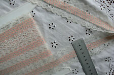 TEAL Floral Apricot Fabric Centre & IVORY 16mmLaceEdge 3.5Metres45mmWideTotalFT1