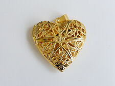 2 x Brass Filigree Heart Lockets in Gold 32mmx25mm, Pendants Findings