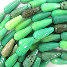"20mm faceted green chrysoprase teardrop beads 15.5"" strand"