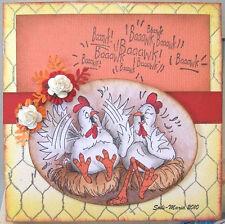 Gossip Chickens  U get photo # 2 nothing else L@@K Art Impressions Rubber Stamps