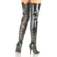 "Seduce 3063 5"" D-Ring Back Lace Up Stretch OTK Thigh Boot  6 -14 Boots"