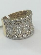 14kt Yellow Gold Vintage Look Wide Coctail Diamond Cluster Ring 2.52tcw #6.5