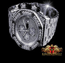 MEN'S ICED OUT CAPTAIN BLING WHITE GOLD FINISH LAB DIAMOND SIMULATE WRIST WATCH