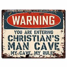 PP3351 WARNING ENTERING CHRISTIAN'S MAN CAVE Chic Sign Home Decor Funny Gift