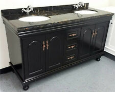 """New 60"""" Marble Top Bathroom Double Vanity Cabinet w/ Sinks + Faucets Included"""