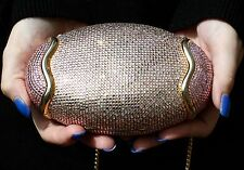 Judith Leiber PINK CLEAR SWAROVSKI CRYSTALS Egg BRIDAL EVENT Clutch Shoulder Bag