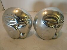 Pair Bookends OWLS HOSELTON Aluminum Sculpture CANADA Signed & Numbered