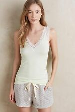 NWT Anthropologie ELOISE Lace Edge Tank Top Ribbed Modal Lime Green XS