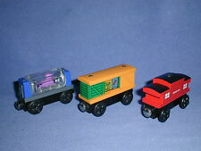 BOX CAR OCTOPUS CAR+ SODOR CABOOSE freight train Thomas Wooden Railway lot EUC
