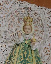 BEAUTIFUL SCRAP DENTELLE  INFANT JESUS OF PRAGUE CIRCA 1880  70 X 110 mm