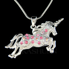 w Swarovski Crystal Rose Pink UNICORN Single Horned HORSE Chain Necklace Jewelry