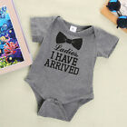 New Baby Boys Girls Bowtie Quote Romper Bodysuit Playsuit Outfits Clothing 0-12M