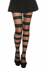 HOT TOPIC NWT FASHION BLACK UNIQUE OPAQUE SHEER STRIPE FOOTED TIGHTS PANTYHOSE