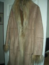 River Island afghan style suede Coat smooth warm fur lined inside Size 12