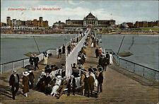 1929 Stempel und Postkarte Holland Scheveningen Op het Wandelhoofd Brücke Leute