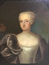 Stunning 18th Century Portrait of Noble Woman Oil Painting with Coat of Arms