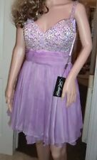 BNWT Ladies La Femme Designer Lavender Jewel Floaty Mini Dress Size 10-12, USA 6