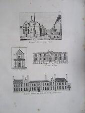 GRAVURE 1839 PARIS HÔPITAL QUINZE VINGTS CHÂTEAU D'EAU ST LOUIS PALAIS ROYAL