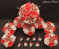 Coral Tangerine BEADED Flower Quinceanera Wedding Bouquet 16 PC Set FREE BOUTS