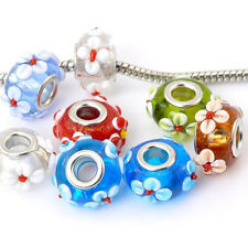 Pack of 10 Flower MIX Lampwork Murano Glass Beads For Snake Chain Charm Bracelet
