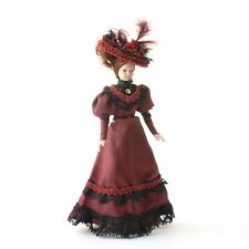 Porcelain Victorian Lady in Burgundy Dress & Hat, 1.12th Scale Doll