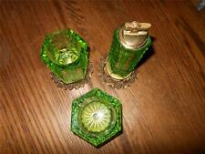Vintage 3 Piece Green Glass Cigarette Set