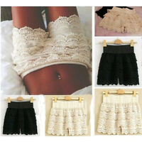 S-XXL Fashion Girl Women Cute Crochet Tiered Lace Shorts Skirt Pants Beige/Black