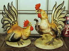 Vintage BISQUE PORCELAIN Pair Fighting Cocks Rooster Figurines BEAUTIFUL COLORS