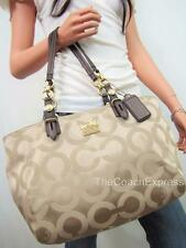 COACH NWT Khaki Signature Mia Op Art Sateen East West Gallery Tote #15758 NEW!