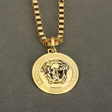 "New Gold Plated Medusa Head Vintage Style Pendant Necklace With 35""  Chain"