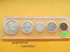 1951 Silver Birth year set 5 coins   (other years also)