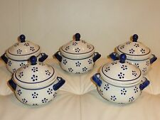 "5 Boleslawiec Polish Pottery Lidded Bowl Bean Pot Floral Dots ""Decoration 1"""