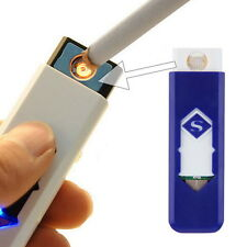 USB Electronic Rechargeable Battery Flameless Cigar Cigarette Lighter Blue HT
