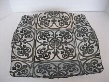 Arda Glassware Hand Painted Silver & Black Glass Square Serving Dish 12in.Sq New