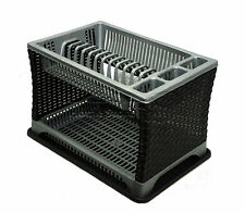 Modern Design Two 2 Layer Plastic Dish Drainer Rack Utensil Cutlery Silver-BLACK