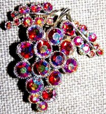 VINTAGE GT AURORA BOREALIS RASPBERRY PINK COLOR GRAPES PIN BROOCH ~SIGNED: BSK