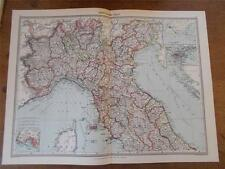 Antique c1904 colour map of NORTHERN ITALY HARMSWORTH ATLAS