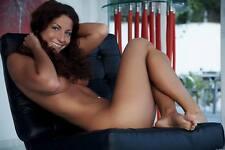 Art Nude Photo 8.25x11.75 Glamorous Sexy Brunette Girl Lying Pose #0368