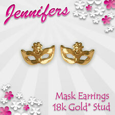 Gold Mask Earrings Stud 18k Masquerade Ball Small Studs Earring Prom Jewellery