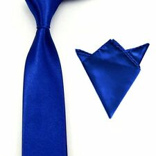 0528 Men Satin Solid Color Necktie Tie Hanky Handkerchief Pocket Square Set